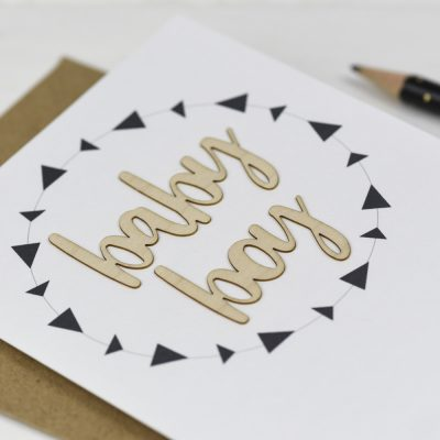 Baby Boy Wooden Words Card