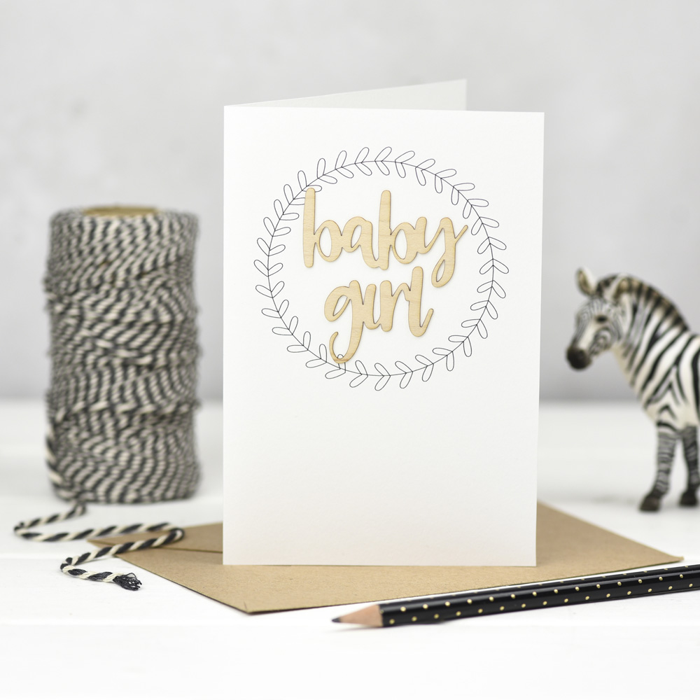 Baby Girl Wooden Words Card