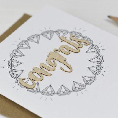 Congrats Wooden Words Card