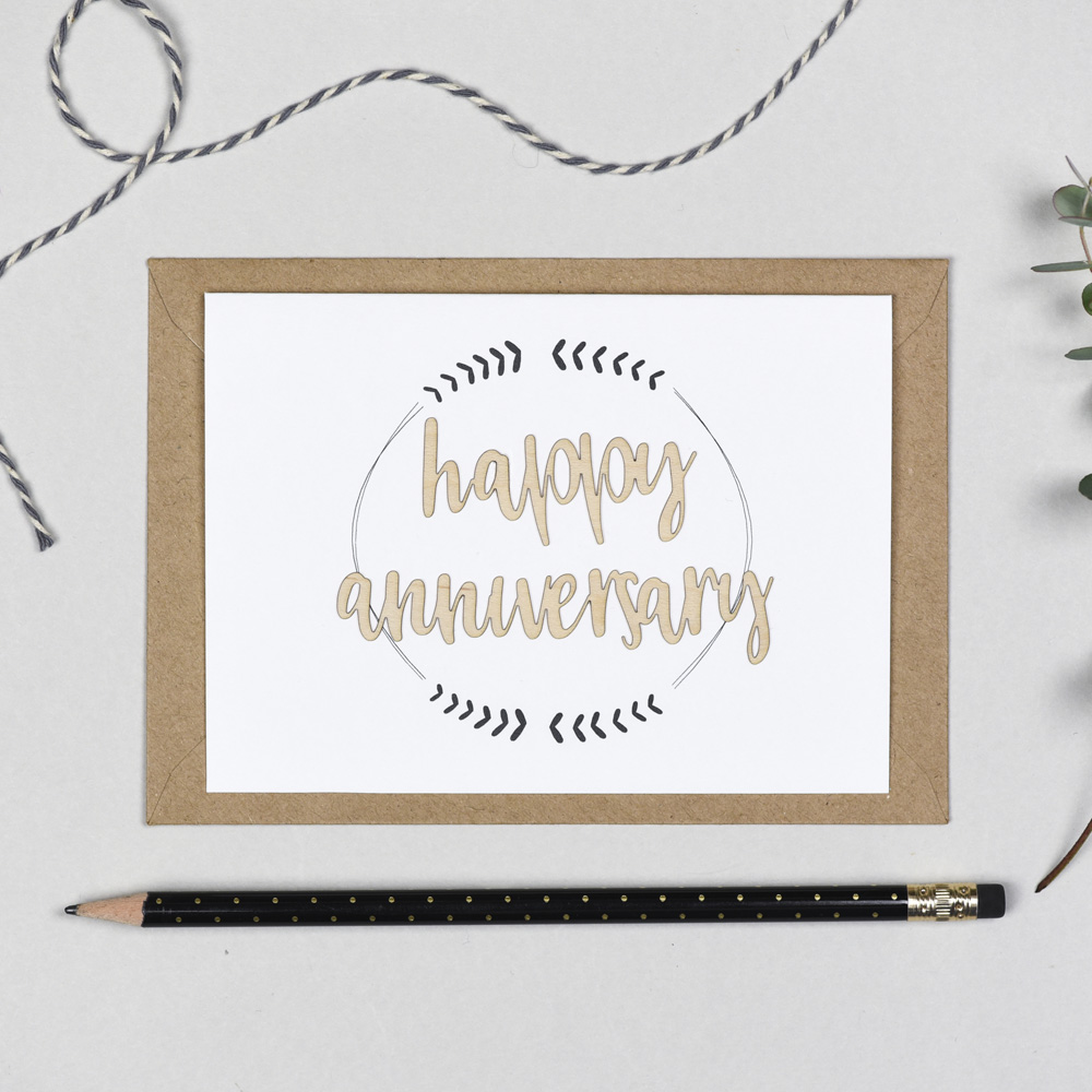 Happy Anniversary Wooden Words Card