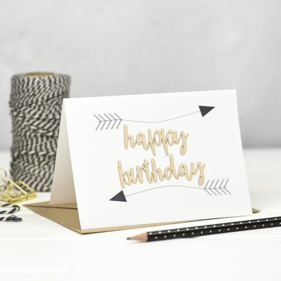 Happy Birthday Arrows Wooden Words Card