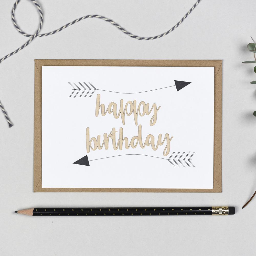 Happy Birthday Arrows Wooden Words Card
