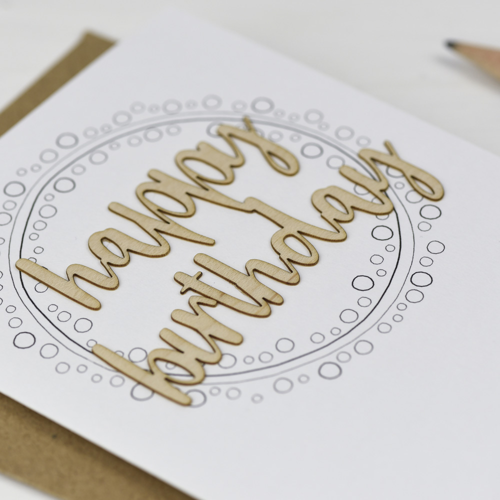 Happy Birthday Bubbles Wooden Words Card