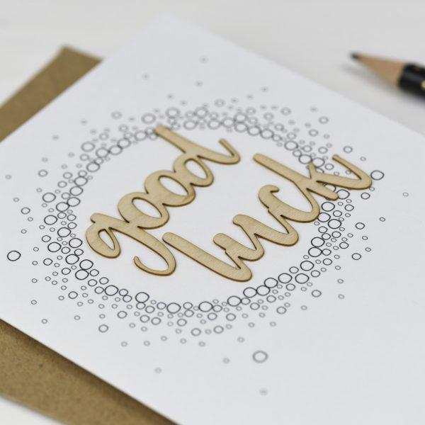 Good Luck Wooden Words Card
