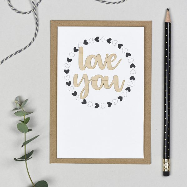 Love You Wooden Words Card