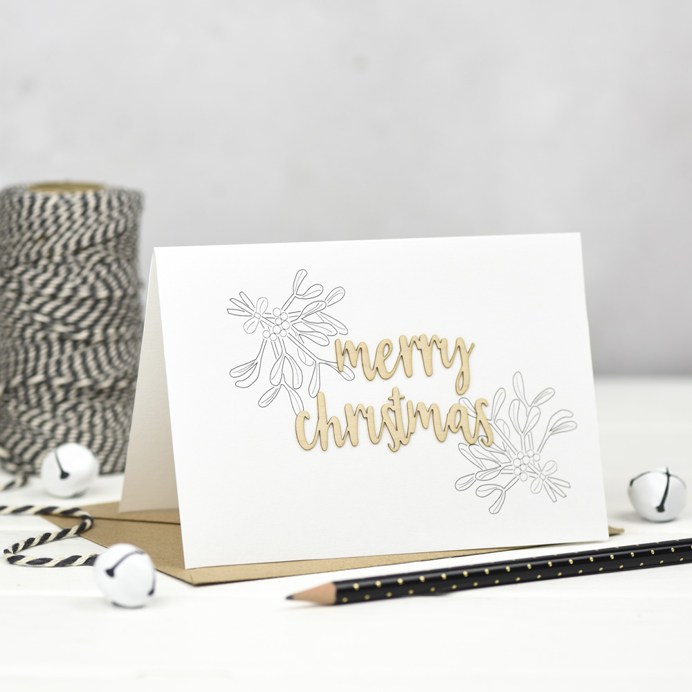 Merry Christmas Wooden Words Card