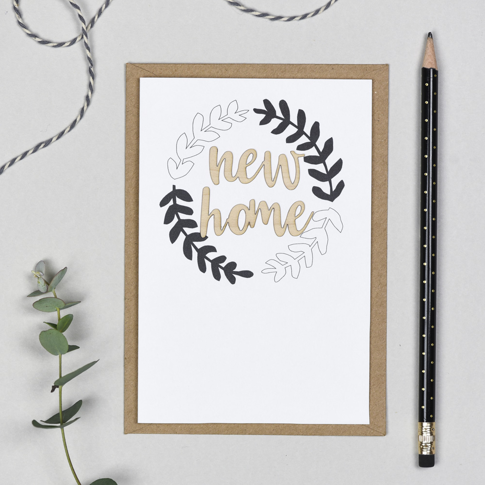 New Home Wooden Words Card