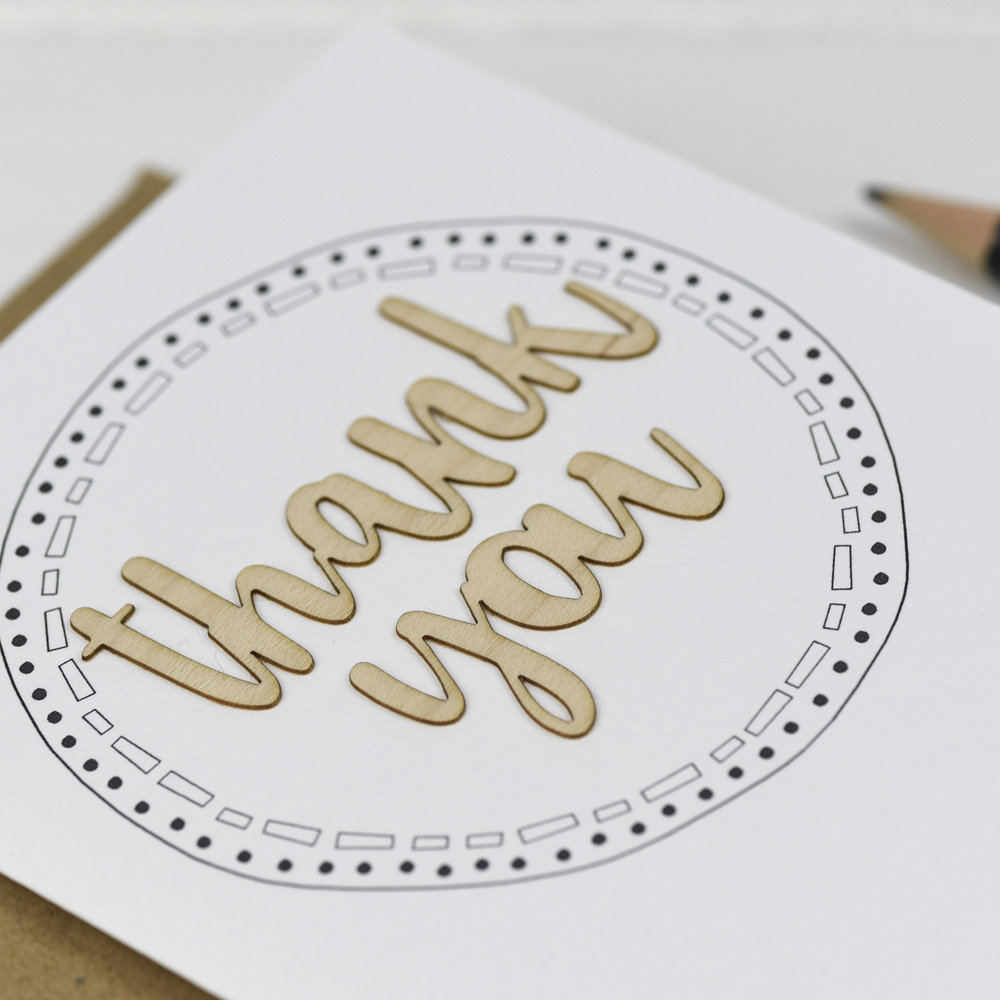 Thank You Wooden Words Card