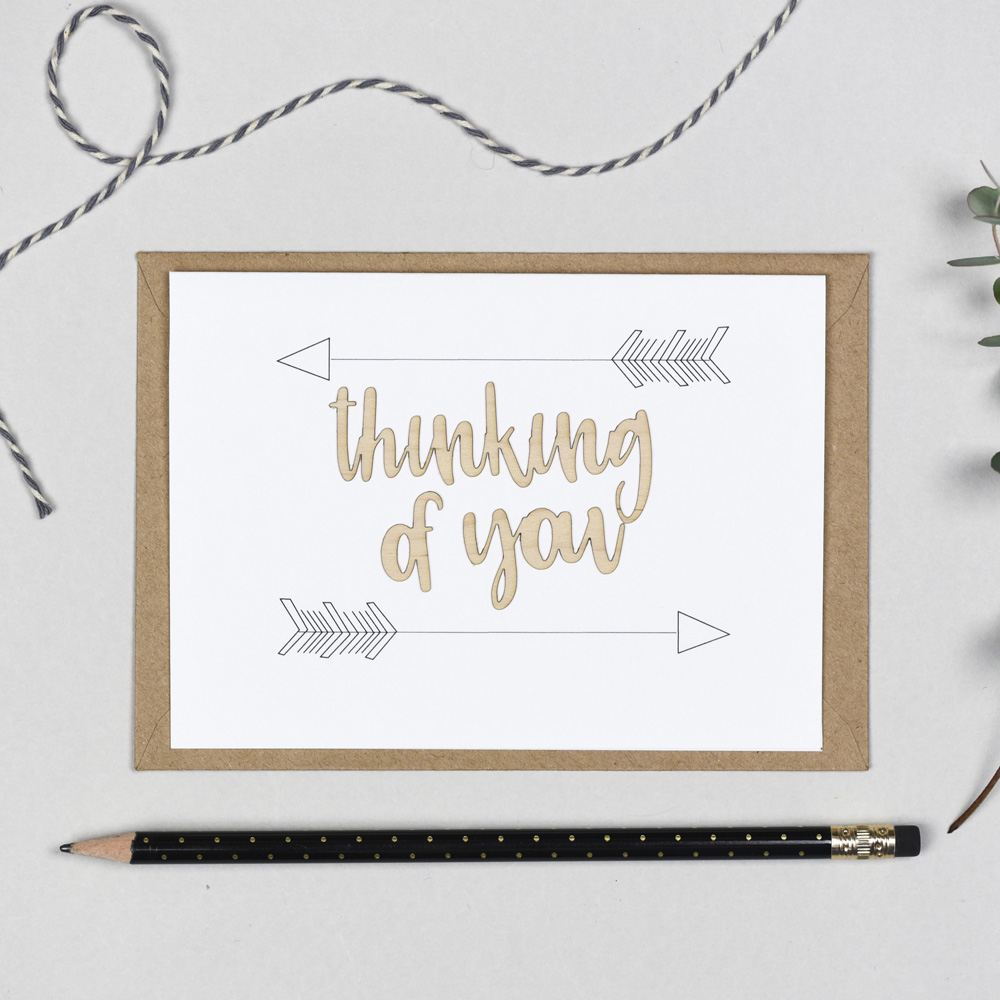 Thinking Of You Wooden Words Card