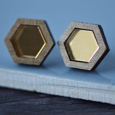 Mirrored Gold Hexagonal Geometric Stud Earrings