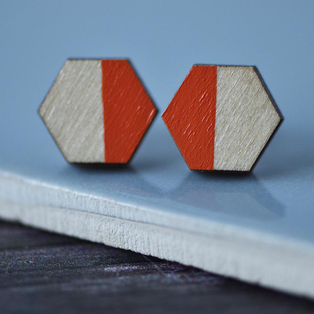 Orange Colour Pop Hexagon Stud Earrings