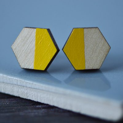 Yellow Colour Pop Hexagon Stud Earrings