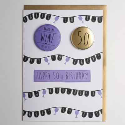 happy 50th birthday badge card