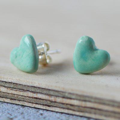 Turquoise Ceramic Heart Earrings