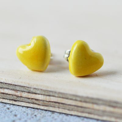 Yellow Heart Ceramic Earrings
