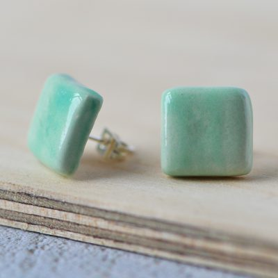 Green Square Ceramic Earrings
