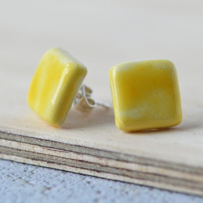 Yellow Square Ceramic Earrings