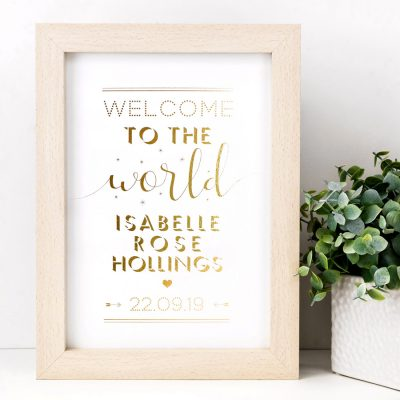Personalised Welcome to the World Baby Print