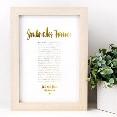 Personalised Soulmates Forever Anniversary Print
