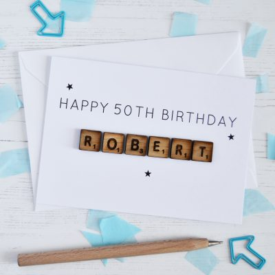 Personalised Birthday Age Wooden Tiles Card - White