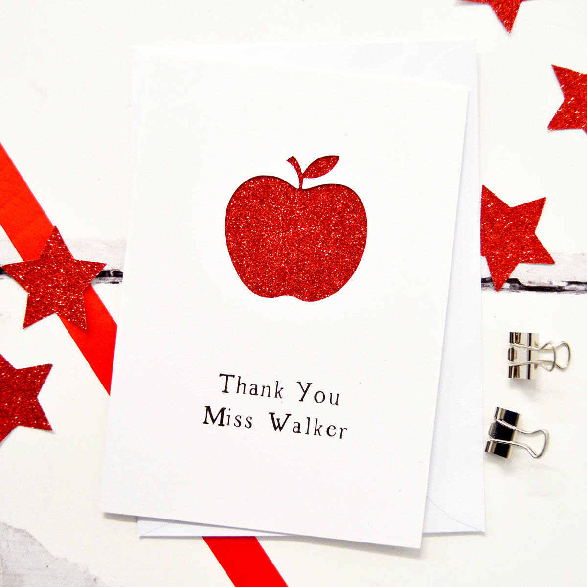 Personalised Teacher Apple Glittered Cut Out Card