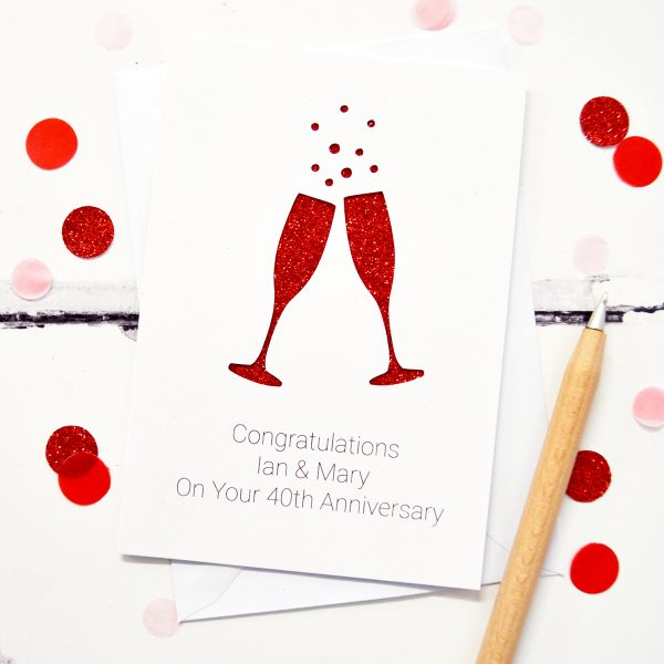 Personalised Champagne Flutes Anniversary Card