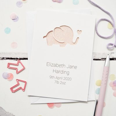 Personalised Baby Elephant Glittered Cut Out Card