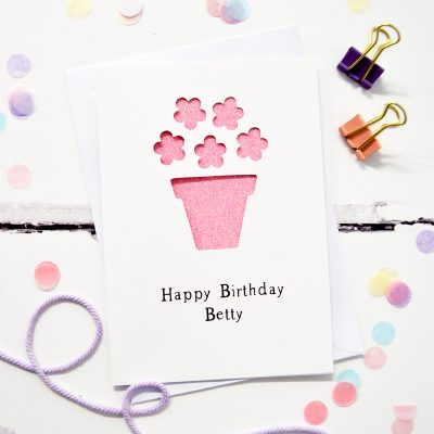 Personalised Flower Pot Glittered Cut Out Card