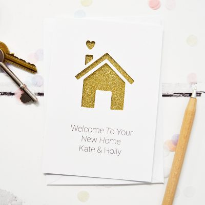 Personalised New Home Glitter Cut Out Card