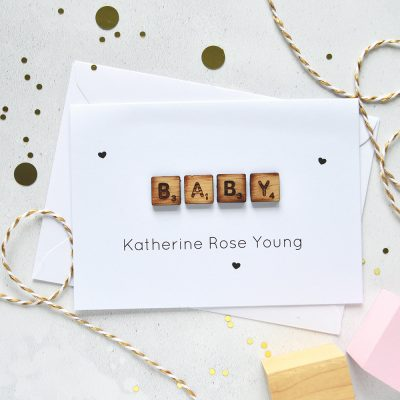 Personalised New Baby Wooden Tiles Card