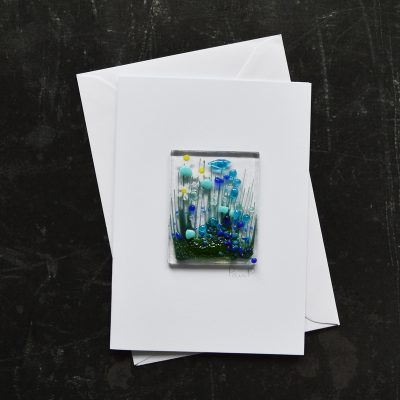 Blue Cornflowers Fused Glass Card