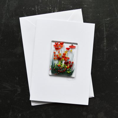 Orange Gerbera Fused Glass Card