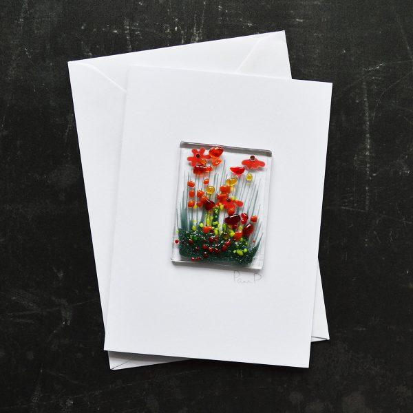 Orange Gerbera Fused Glass Card