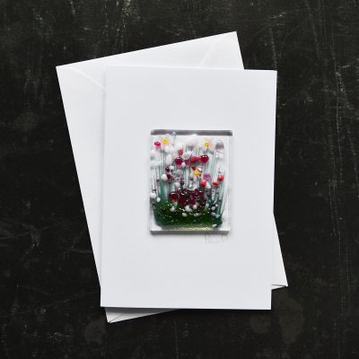 Pink Blooming Fused Glass Card