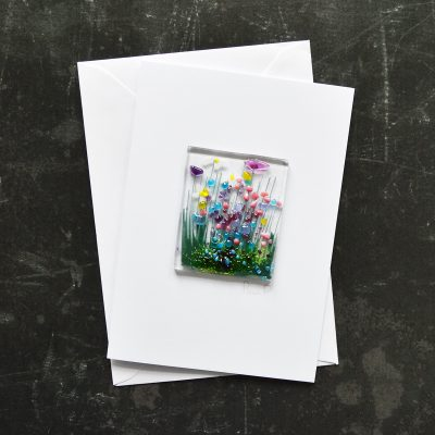 Wildflowers Fused Glass Card