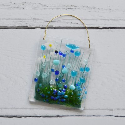 Blue Cornflower Fused Glass Hanger