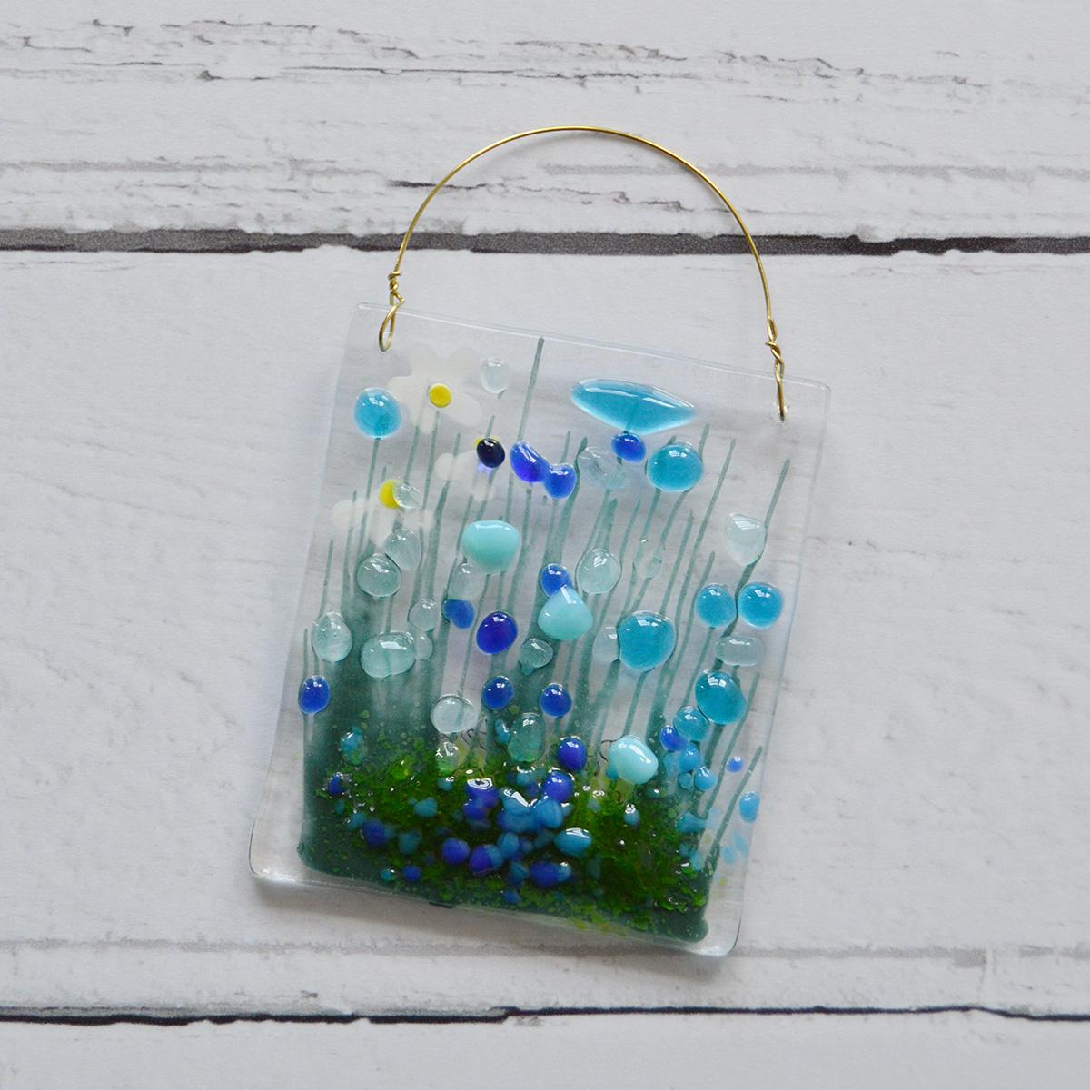 Blue Cornflower Fused Glass Hanger