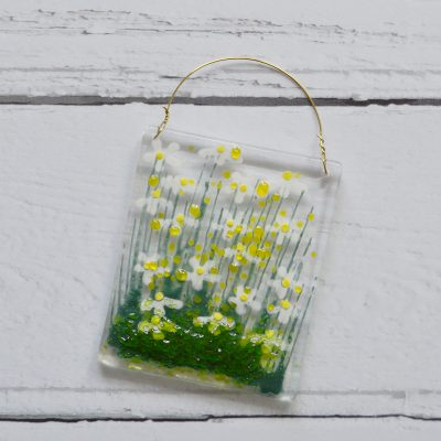 Daisy Fused Glass Hanger