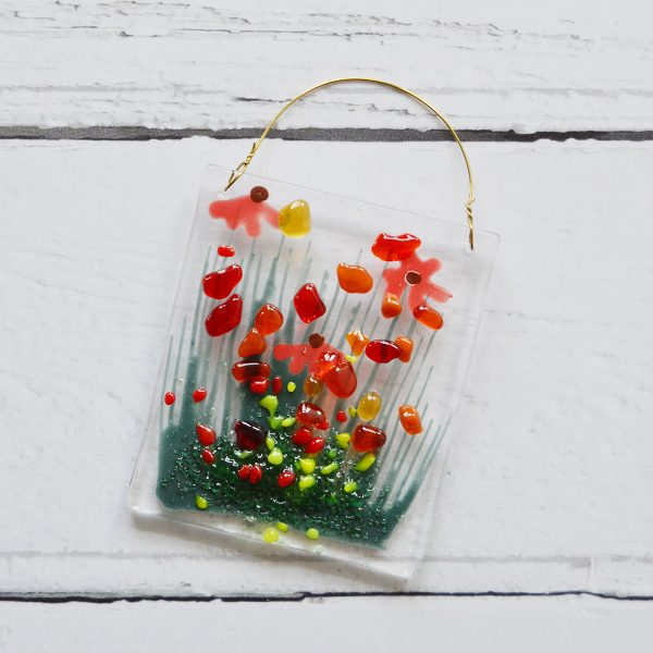 Orange Gerbera Fused Glass Hanger