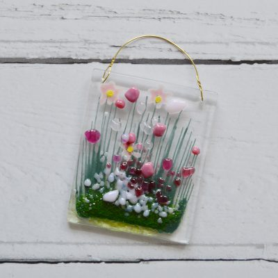 Pink Blooming Fused Glass Hanger