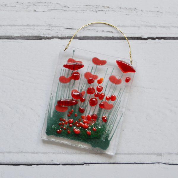Poppy Fused Glass Hanger