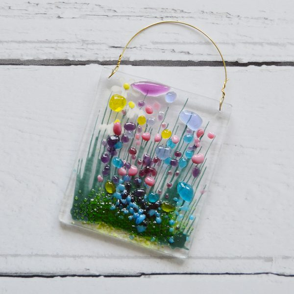 Wildflower Fused Glass Hanger