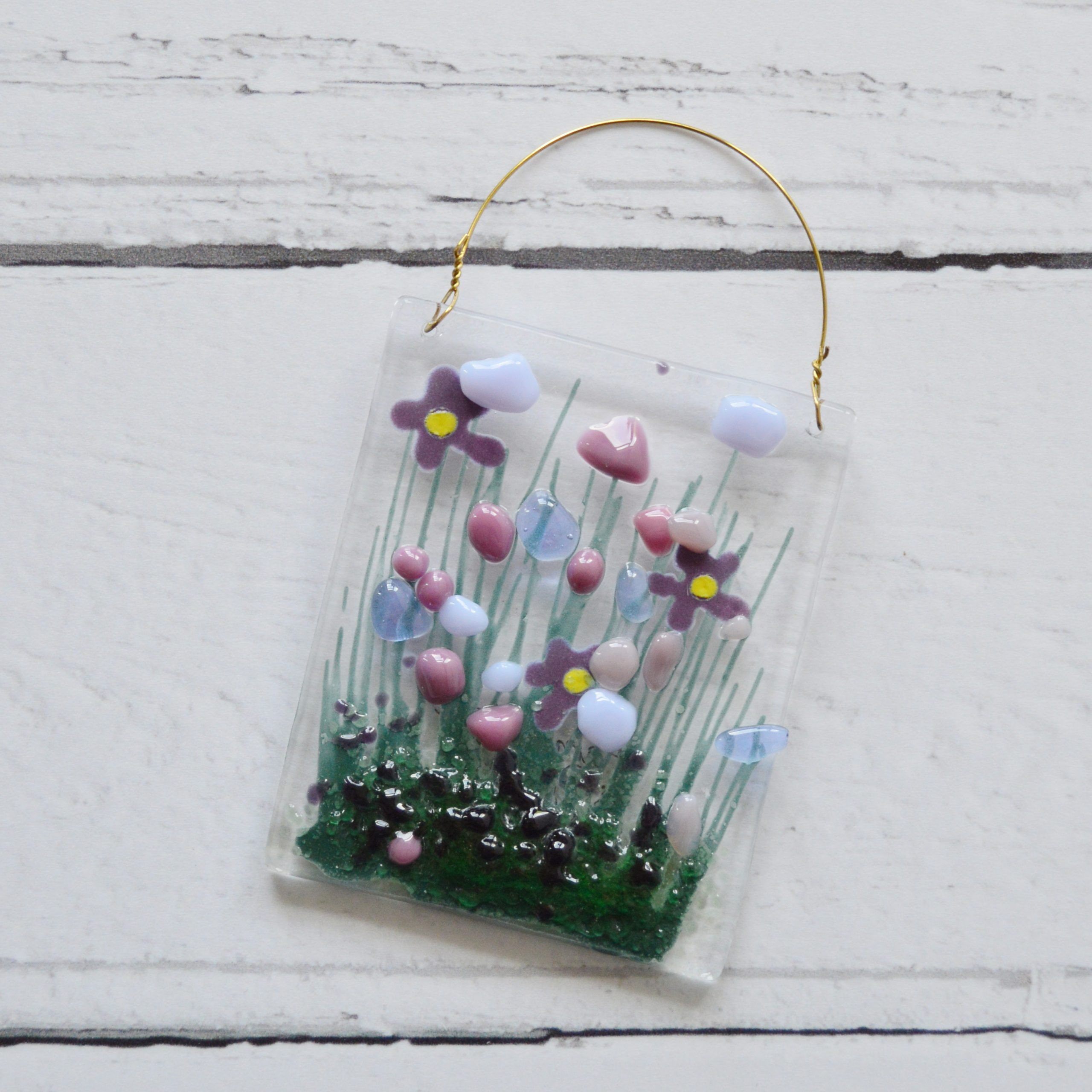 Purple Violets Fused Glass Hanger