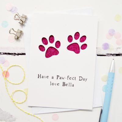 Personalised Paw Prints Glitter Cut Out Card