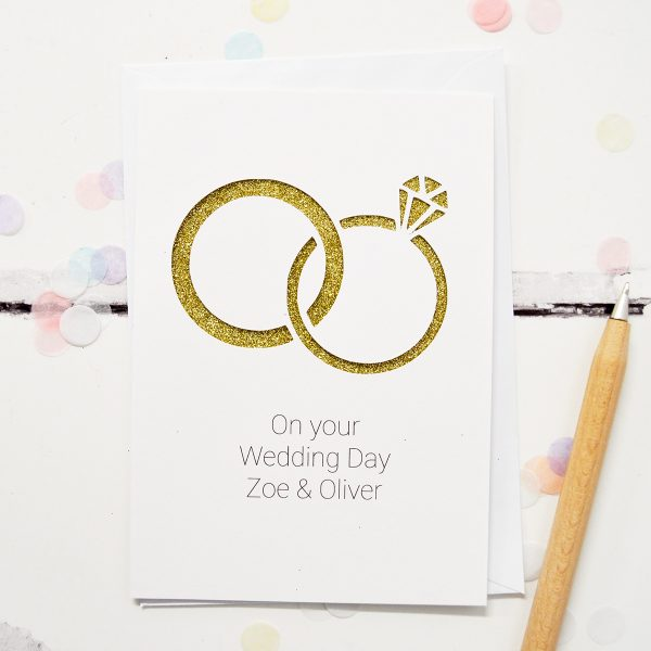 Personalised wedding rings glitter cut out card