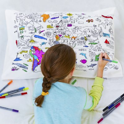 Colour & Wash - World Map Pillowcase