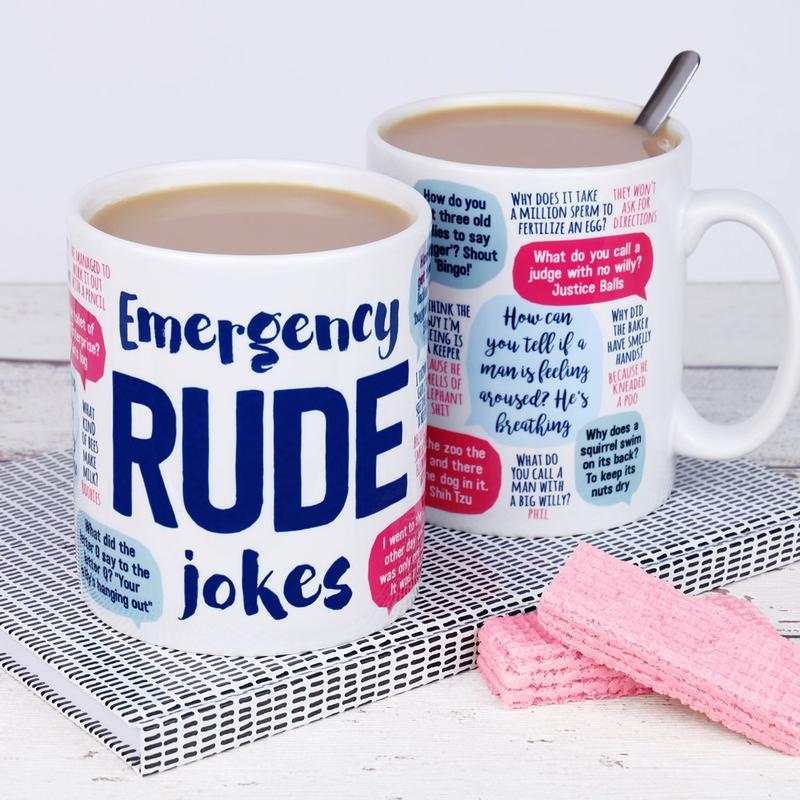 emergency rude jokes mug