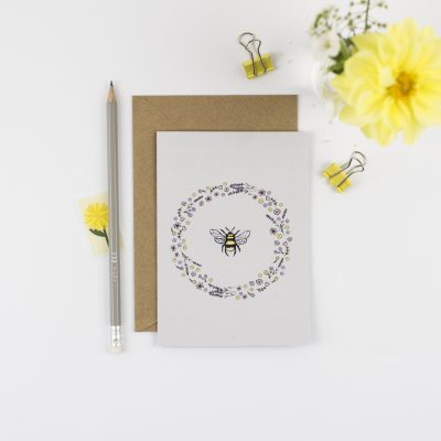 Floral wreath card
