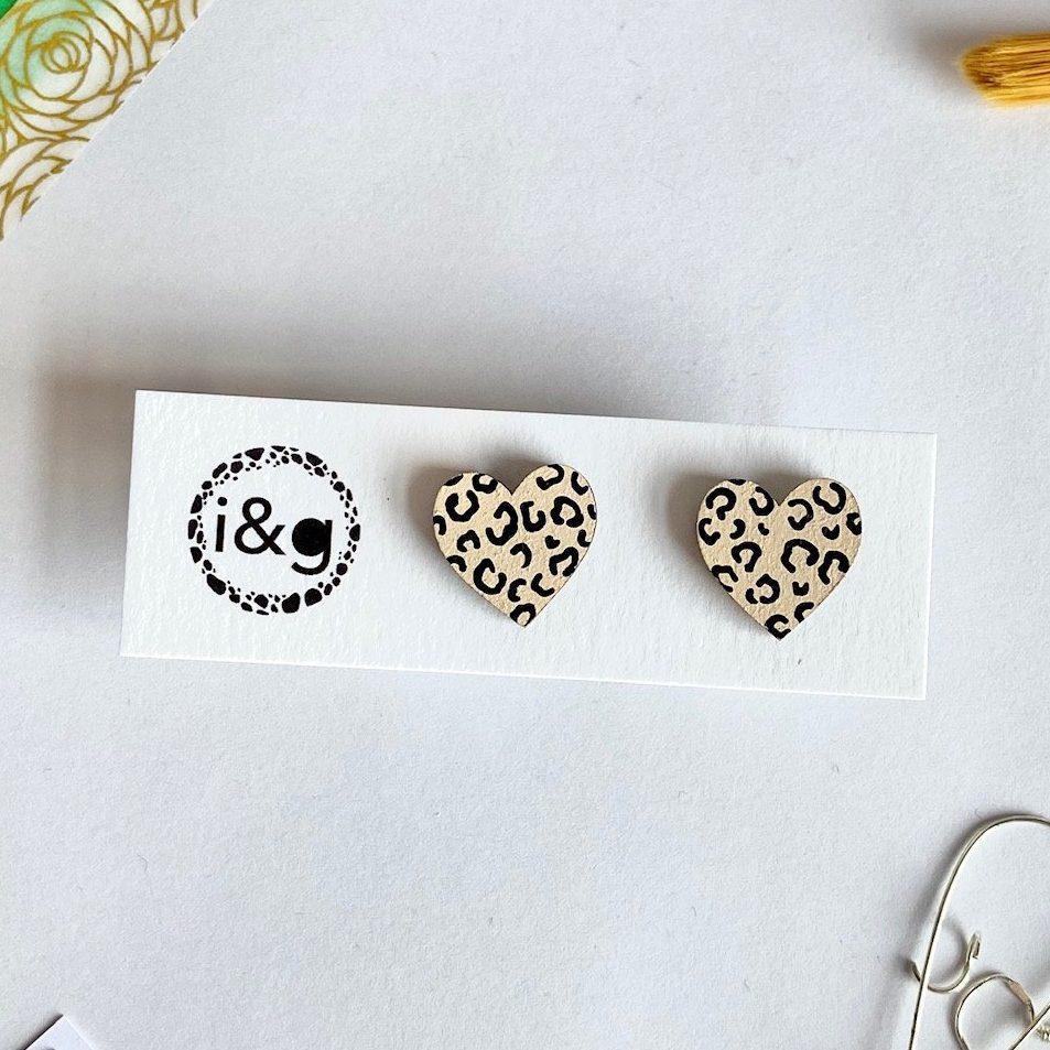 Beige and Black Cheetah Print Mini Heart Studs