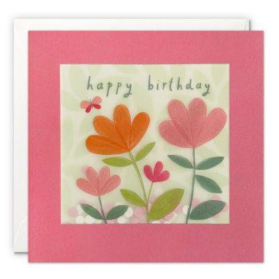 Happy Birthday Flowers Butterfly